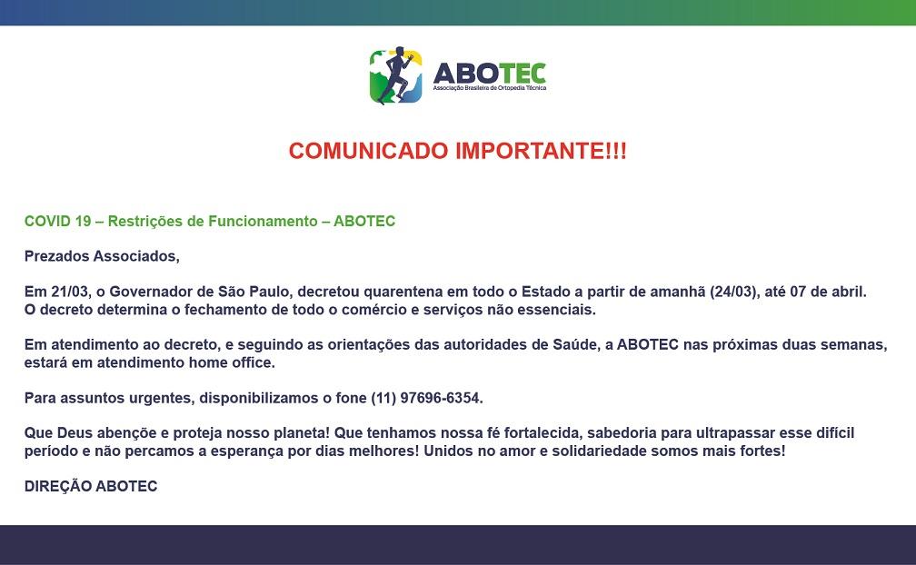 COMUNICADO - 23/03/2020 - ABOTEC